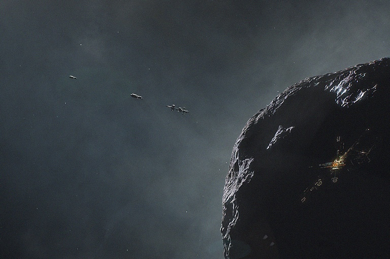 View of an Astronaut Mining a Near-Earth Asteroid